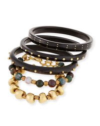 Ashley Pittman Mwisho Dark Horn Bangles Set Of 5
