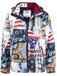 Tommy Jeans Mix Print Puffer Coat Blue