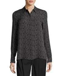 Vince Printed Hidden Button Silk Blouse Black