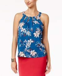 Thalia Sodi Printed Cutout Top Only At Macy's Nocturnal Blue Combo