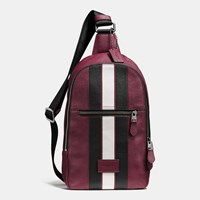 Coach Modern Varsity Campus Pack In Pebble Leather Black Antique Nickel Burgundy C