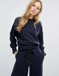 Warehouse Oversized Sweater With Frill Hem Dark Navy
