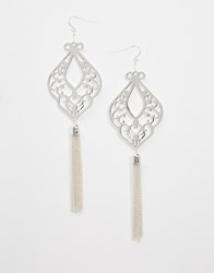 Oasis Cut Out Tassel Drop Earrings Silver