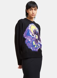Christopher Kane Oversized Floral Intarsia Knit Sweater Black