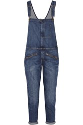 Current Elliott The Zip Stretch Denim Boyfriend Overalls Blue