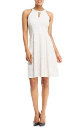 London Times Women's Embellished Floral Jacquard Fit And Flare Dress Champagne