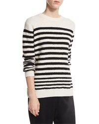 Vince Engineer Striped Textured Pullover White Black