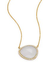 Argentovivo Cubic Zirconia And 18K Gold Plated Sterling Silver Pendant Necklace