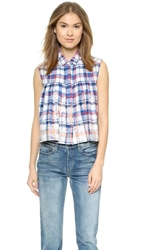 Sea Sleeveless Plaid Button Down Multi