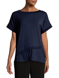 Jones New York Short Sleeve Asymmetrical Tee Navy