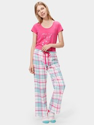 Joules Fleur Checked Flannel Pyjama Bottoms Cream Multi