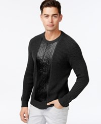 Inc International Concepts Crew Neck Faux Leather Cable Knit Sweater Only At Macy's Deep Black