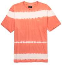 Stussy Spray Stripe Garment Dyed Cotton Jersey T Shirt Orange