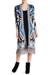Romeo And Juliet Couture Printed Fringe Cardigan Black