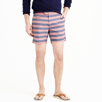 J.Crew 6.5' Tab Swim Short In Striped Oxford Cloth