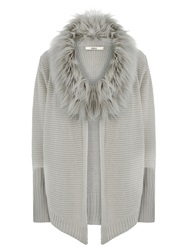 Oasis Fur Trim Drape Cardigan Mid Grey