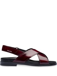 Prada Brushed Leather Sandals Red