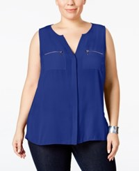Inc International Concepts Plus Size Split Neck Zipper Blouse Only At Macy's Goddess Blue