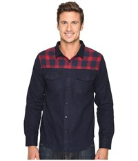 United By Blue Banff Wool Shirt With Plaid Trim Navy Red Plaid Men's Clothing