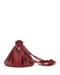 Il Bisonte Drawstring Leather Crossbody Pouch Bag Red