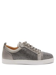 Christian Louboutin Louis Junior Strass Suede Trainers Grey