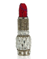 Judith Leiber Crystal Lipstick Pill Box Slvr Red Multi