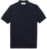 Tomorrowland Knitted Cotton And Silk Blend Polo Shirt Midnight Blue