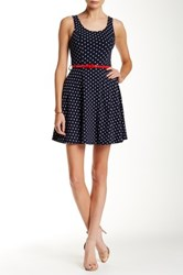 Iris Belted Polka Dot Dress Blue