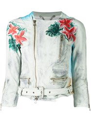 Pihakapi Floral Print Biker Jacket Women Calf Leather S Grey