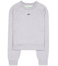 Off White Daisy Woman Pleat Crew Neck Pullover Grey
