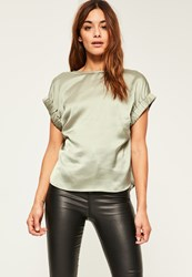Missguided Green Satin Elastic Cuff T Shirt