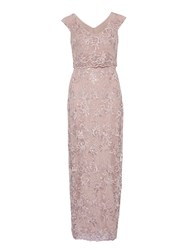 Gina Bacconi Corded Embroidery Oriental Floral Maxi Pink