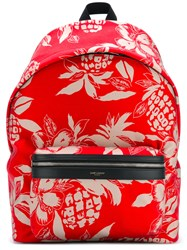 Saint Laurent Pineapple Print Backpack Men Nylon One Size Red