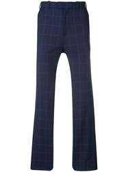 Martine Rose Checked Navy Trousers Blue