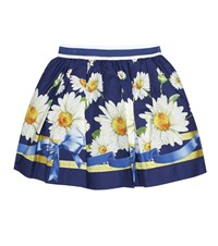 Monnalisa Floral Printed Cotton Skirt Blue