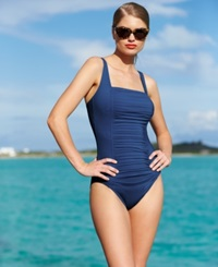 Calvin Klein Ruched Panel One Piece Swimsuit Women's Swimsuit Navy