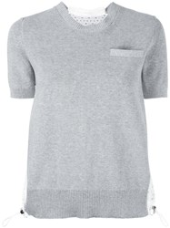 Sacai Dot Lace Knitted Top Grey