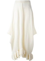 Stella Mccartney Asymmetric Ruffle Hem Skirt White