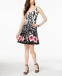 Nine West Floral Print Fit And Flare Dress Black Multi