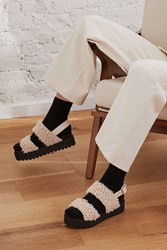 Urban Outfitters Lexi Faux Sherpa Flatform Sandal Cream