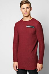 Boohoo Textured Sweater With Zip Front Pocket Wine