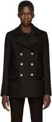 Versace Black Wool Peacoat