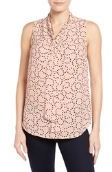 Women's Halogen Tie Neck Sleeveless Blouse Pink Black Swirl Dot