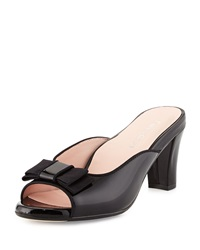 Fico Peep Toe Bow Mule Black Taryn Rose