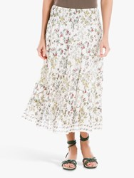 Max Studio Printed Tiered Maxi Skirt Eggnog Red
