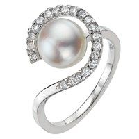 A B Davis Pearl Cubic Zirconia Surround Ring Silver