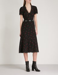 The Kooples Cherry Print Silk And Lace Dress Bla01
