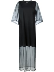 Mcq By Alexander Mcqueen Sheer Sleeve T Shirt Dress Black