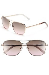 Women's Lilly Pulitzer 'Cambridge' 59Mm Aviator Sunglasses Rose Gold Tortoise White