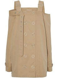 Burberry Cotton Gabardine Deconstructed Trench Dress Brown